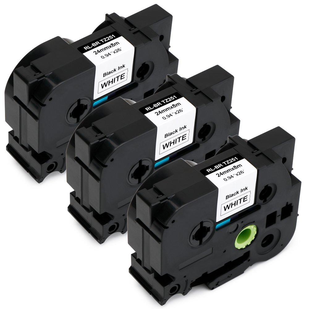 Jofoce Compatible Brother TZe251 TZe 251 TZe-251 TZ-251 Black on White 24mm (0.94 inch) x 8m (26.2 ft) Label Tape, Work with Brother P-Touch PT-D600 PT-P700 PT-2430PC PT-D600VP