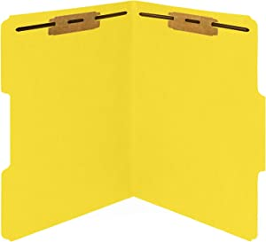 50 Yellow Fastener File Folders - 1/3 Cut Reinforced Tab - Durable 2 Prongs Bonded Fastener Designed to Organize Standard Medical Files, Office Reports - Letter Size, Yellow, 50 Pack