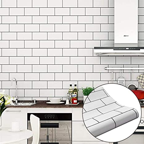 White Brick Waterproof Vinyl Contact Paper For Kitchen Backsplash