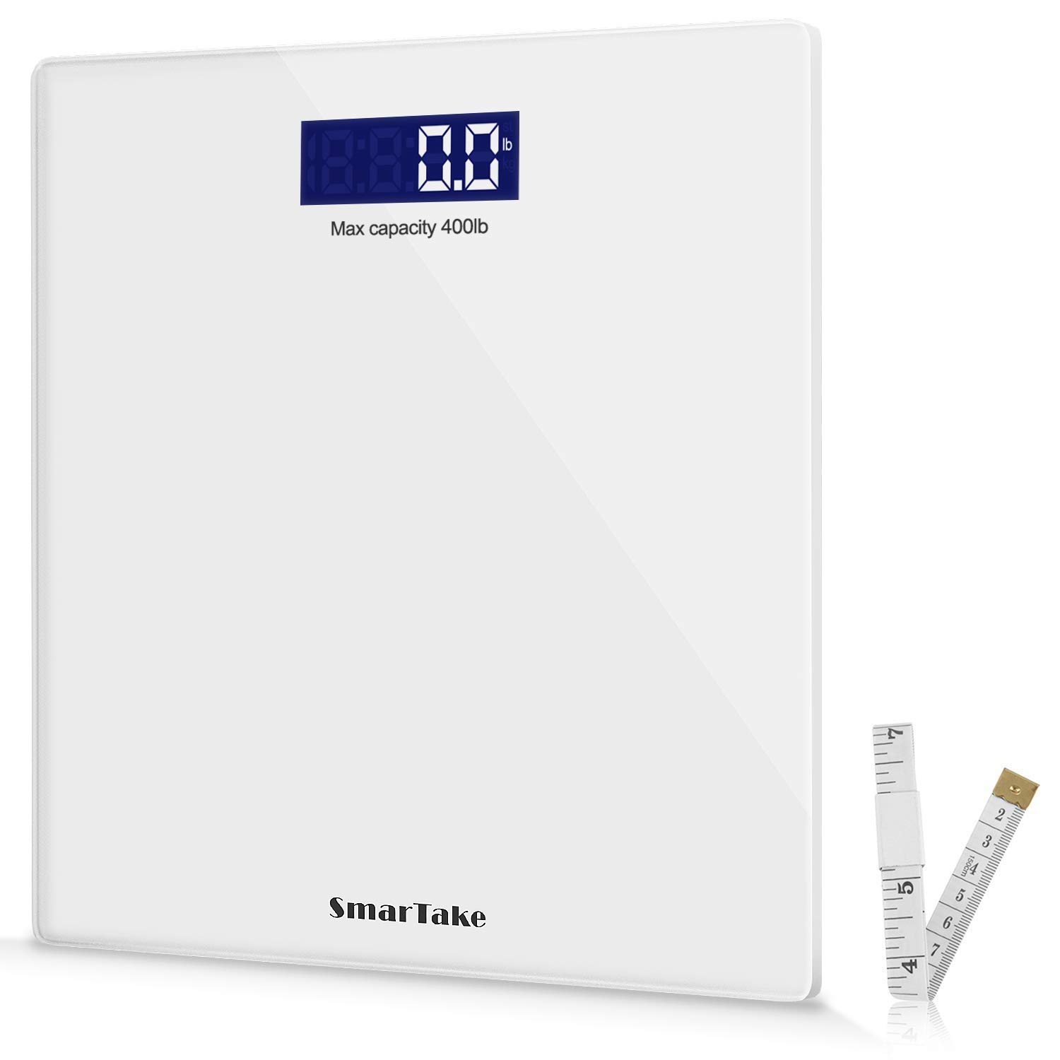 SMARTAKE Weight Scale, Precision Digital Body Bathroom Scale with Step-On Technology, 6mm Tempered Glass Easy Read Backlit LCD Display, 400 Pounds, White