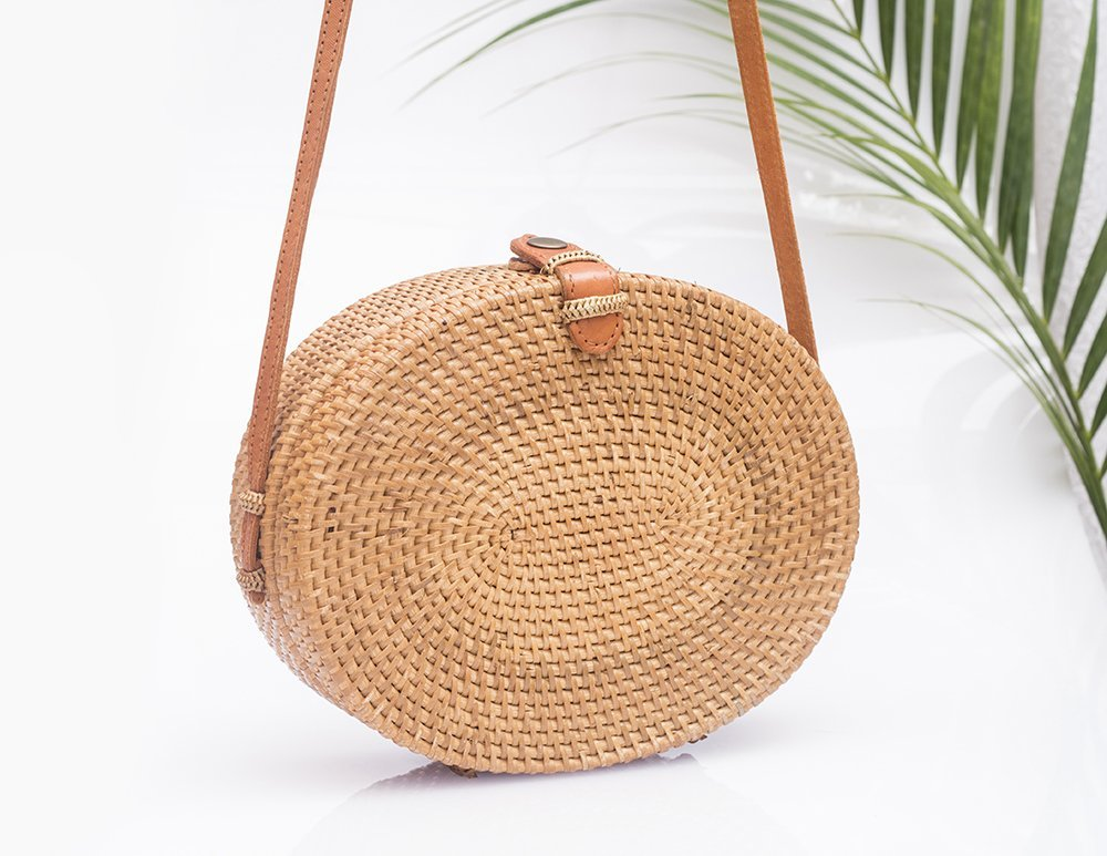 Oval straw bag made of rattan Lovely handmade bag, woven in oval shape with unique batik fabric lining