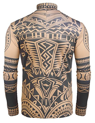 COOFANDY Men's African Tribal Tattoo Thermal Turtleneck Pullover Slim Fit Underwear by COOFANDY (Image #4)