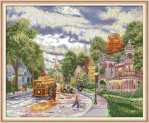 Joy Sunday Counted Cross Stitch Kits,Town Evening Cross-Stitch Sewing Pattern Embroidery Kit 14CT White Fabric 21''x18'' -