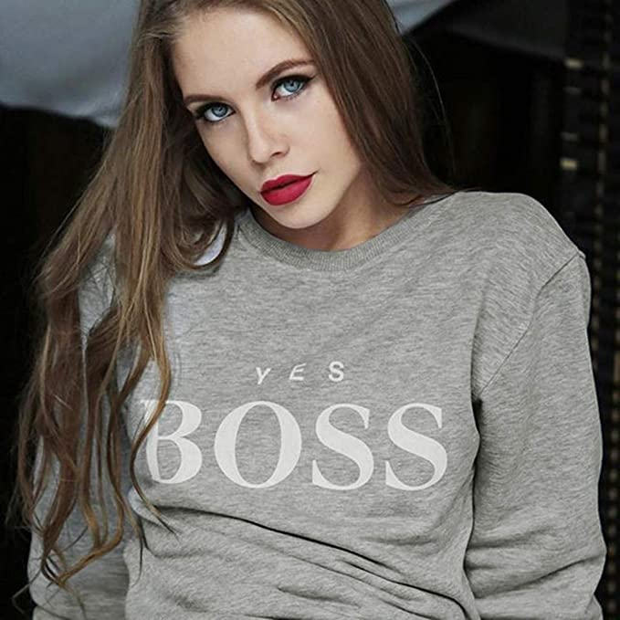 Sillor sweter damski Yes Boss nadruk list jednokolorowy długi rękaw dekolt okrągły gÓrna część czas wolny jednokolorowy T-shirt top sweter sweter bluza: Odzież