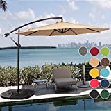 Sundale Outdoor 10 Feet Aluminum Offset Patio Umbrella with Crank and Cross Bar Set, Cantilever Umbrella for Deck, Garden, Backyard, 8 Steel Ribs, 100% Polyester Canopy Shade (Tan)