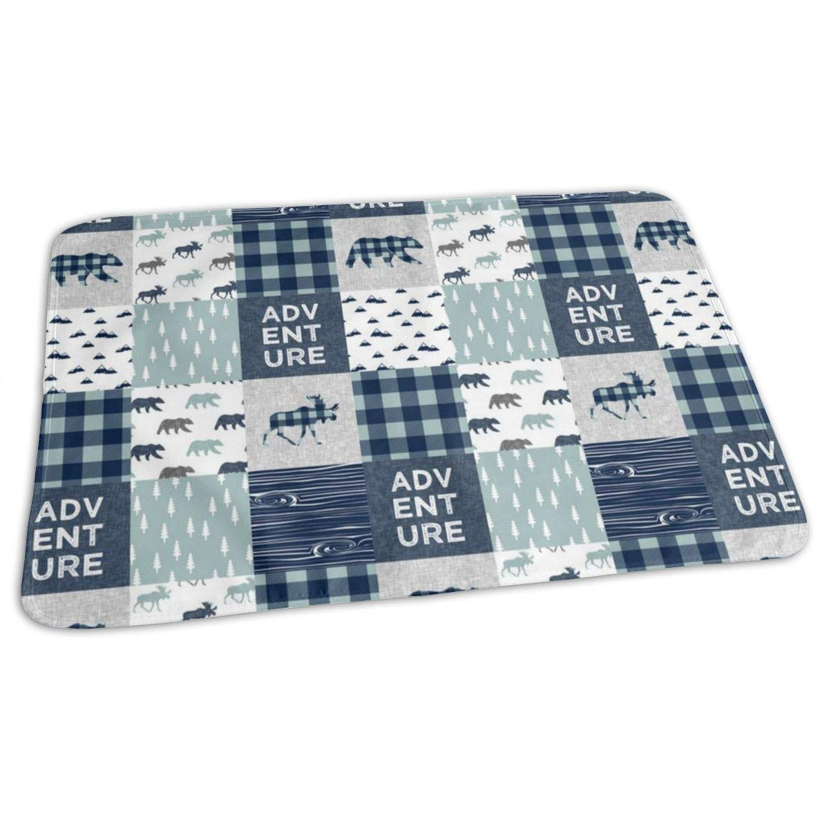 Adventure Patchwork - Navy and Dusty Blue (Bear and Moose) Baby ...