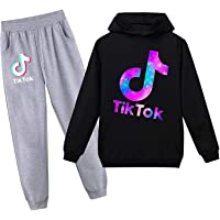 Youth TIK Fashion Hoodie and Sweatpants Suit for Boys Girls 2 Piece Outfit Sweatshirt Set