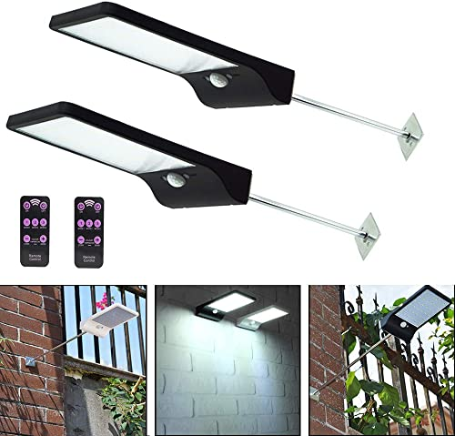 Enjoysolar 2 PCS Solar Gutter Lights Wall Sconces Outdoor, 48 LED Solar Powered Motion Sensor Security Led Outdoor Light Waterproof Lamp Black with Pole Remote for Barn Porch Garage Fence