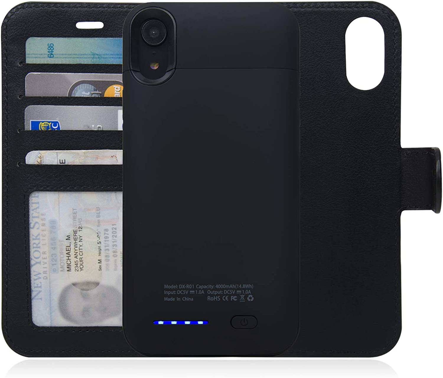 navor RFID Folio Wallet Magnetic Detachable Power Battery Case Compatible for iPhone XR - Black