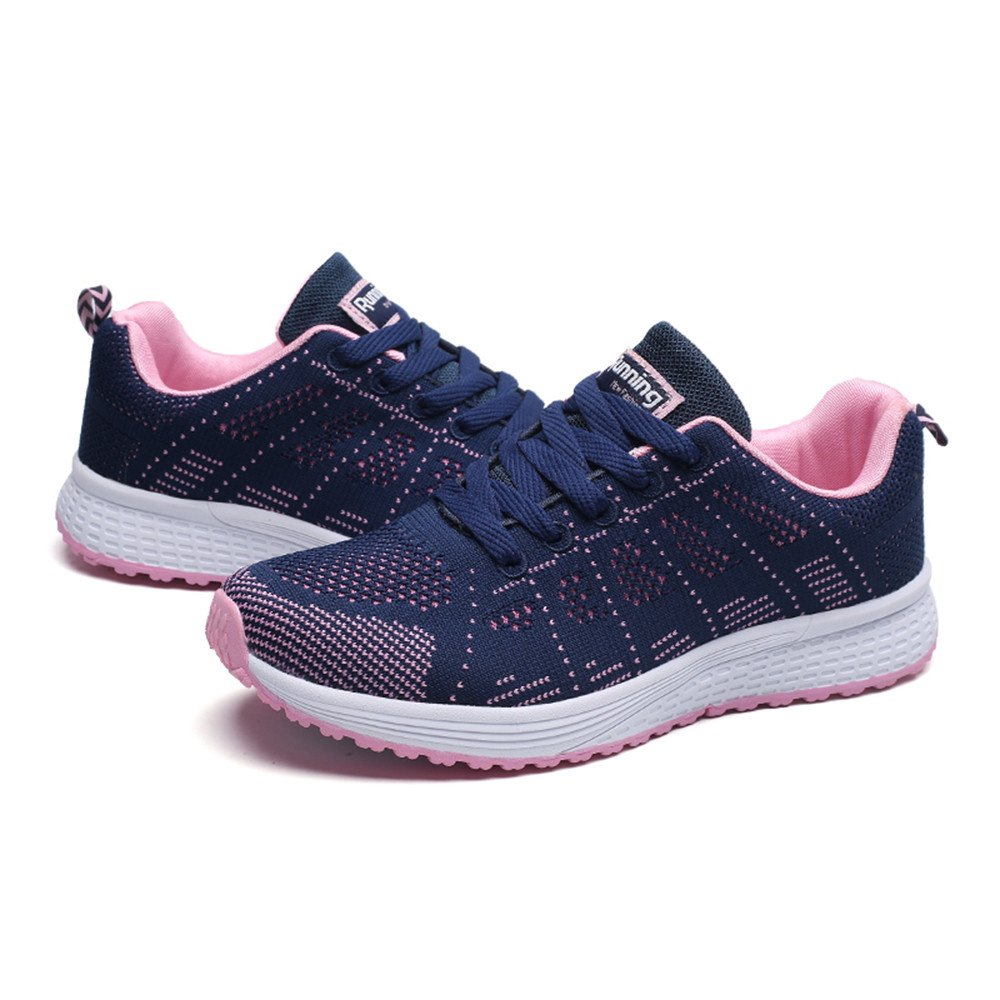 2019 Hot Women Summer Running Shoes Comfortable Mesh Round Cross Straps Flat Sneakers Casual Shoes (Dark Blue, 5.5)