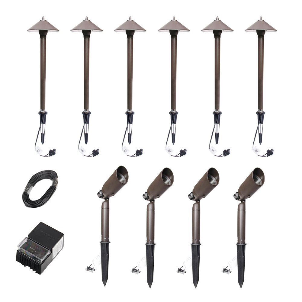 Malibu C Landscape Lighting 10PCS Pro Set Light Kit (Pathway Light&Spotlight&Power pack&Cable wire)