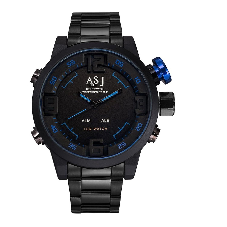 ASJメンズ機能クオーツスポーツLED表示手首腕時計、ブラックステンレススチールストラップ防水30 M ( 100ft ) 1# B0722GNLT41#