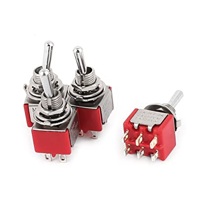 6mm Panel Mount ON//OFF//ON 3PDT Latching 9 Pin Toggle Switch AC 125V 5A Red 2pcs