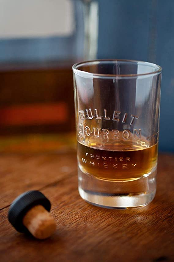 Bulleit Bourbon Whiskey Tumbler Glass with Graduation Marks Old Fashioned Sipping Glass Made in ITALY