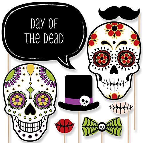 Custom Day of The Dead Photo Booth Props Kit - Personalized Dia de Los Muertos Party Supplies - Sugar Skull Decorations - 20 Selfie Props ()