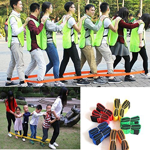 CHFUN Cooperative Band Walker 8 Legged Race Band Set Game Teamwork Training for Children Adult Pack of 2 (Red, 8-Legged) -