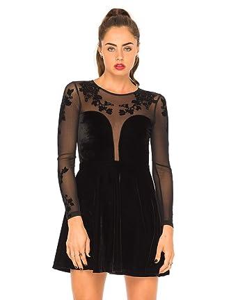 6348c8a16 Motelrocks - Motel Moonchild Velvet Skater Dress in Black: Amazon.co ...