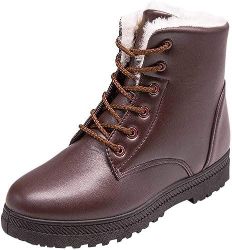 Bottes à Ankle CompenséEs Chaussures Hiver Lacets en Cuir ynPmv80wON