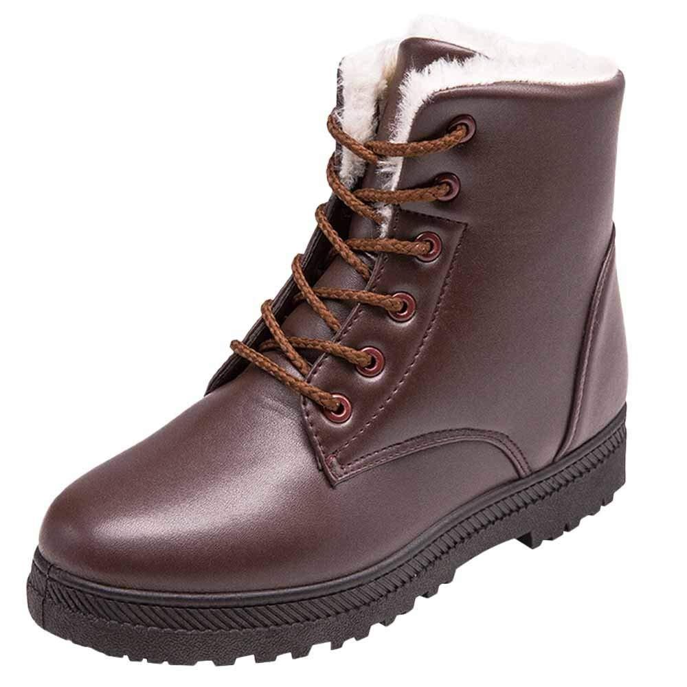 Botas mujer invierno, ZARLLE Botas De Nieve para Mujer Invierno Felpa Mujer Invierno Antideslizante Nieve Botas Moda Atada Botines Casual Calentar Forrado Zapatos Botas Martin Zapatos De Mujer