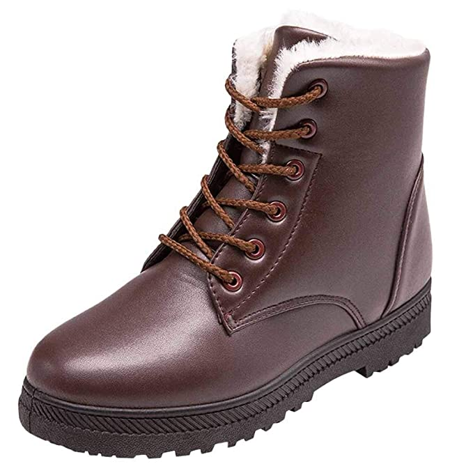 edec4c94c9416 Ninasill Combat Boots Women's Ankle Snow Boots Stylish Winter Shoes  High-top Boots Flat Lace Up Boots