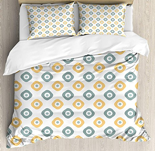 Heart Pain Vintage 4 Pieces Bedding Set, Stylish Evil Eye Bead Amulet Like Figures Cubical Rounded Dotted, Comfortable Bed Sheet (No Comforter), Almond Green Apricot Mustard(Full)