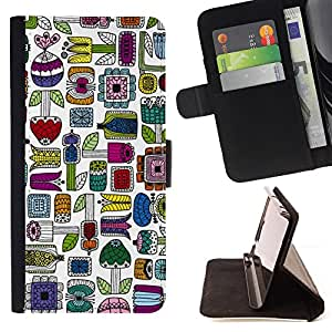 Jordan Colourful Shop - hand drawn colorful minimalist For Samsung Galaxy S4 Mini i9190 - Leather Case Absorci???¡¯???€????€???????&b