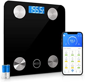 BUIO Platinum Smart Scale for Body Weight - Digital Bathroom Weight Scale That Measures Body Fat, BMI, Muscle Mass & 9 More Inside The Powerful Phone App That's Compatible with iOS & Android Devices