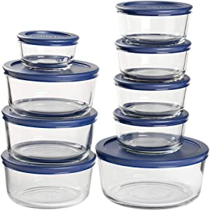 Anchor Hocking Snug Fit Food Storage, 18 Piece Set, Navy