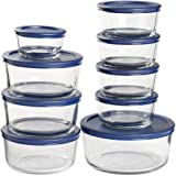 Anchor Hocking Classic Round Glass Food Storage Containers with Navy SnugFit Lids, 18-Piece Set, Multi (13952ECOM)