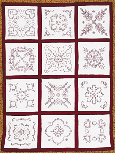 - Jack Dempsey Needle Art 7411 Sampler Vintage Revival Quilt, 12 Block, 18-Inch by 18-Inch, White