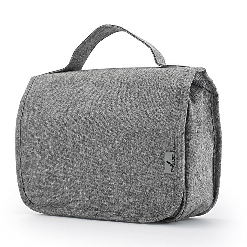 Ourtour Portable Hanging Travel Cosmetic Organizer Toiletry Bag for Women Makeup or Men Shaving Kit with Hook for Vacation (Grey)
