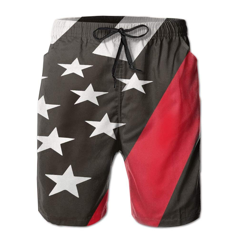 Firefighters Thin Red Line Flag Mens Quick Dry Beach Shorts Casual Shorts Breathable Swim Trunks Board Shorts Pants