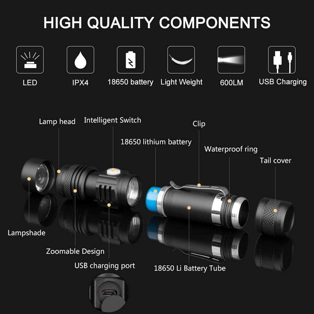 Superhelle Aufladbar LED Taschenlampen f/ür Camping USB Wiederaufladbare Taschenlampe 2 St/ück Wandern und Notf/älle
