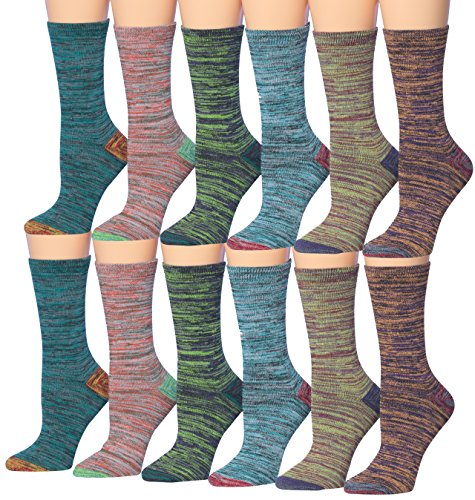 Colorful Dye - Tipi Toe Women's 12-Pairs Space Dye Colorful Crew Socks, Fits shoe size 6-9, CR112-12