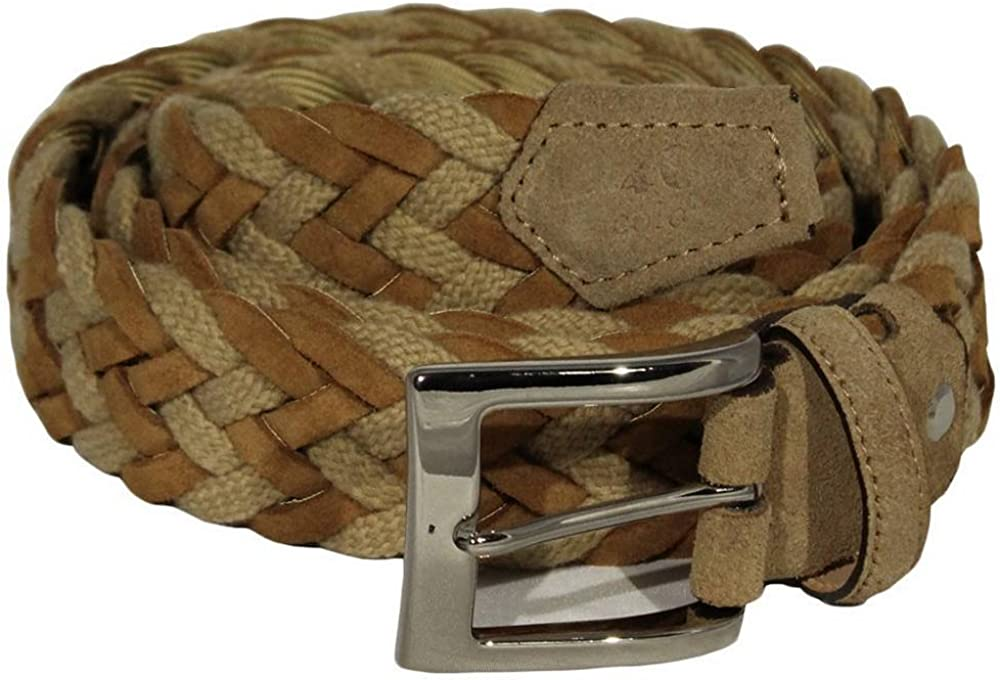 Light Brown 40 Colori Mens Rope and Suede Leather Belt