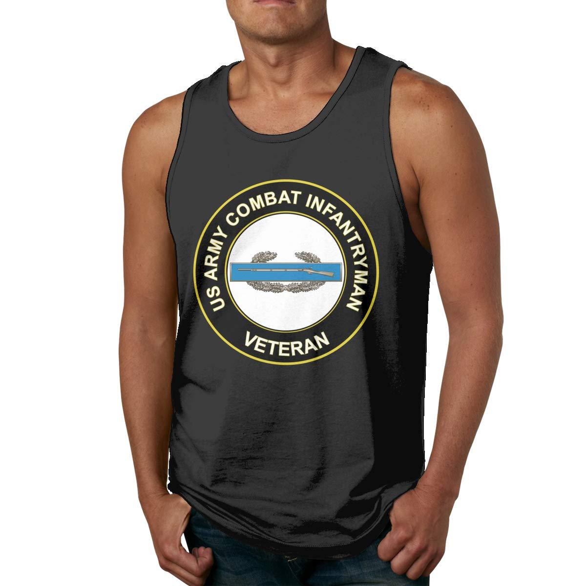 FKAHQ US Army Combat Infantryman CIB 1st Award Veteran Male Printed Vest Sports Tank-Top Tee Leisure Sleeveless Tee