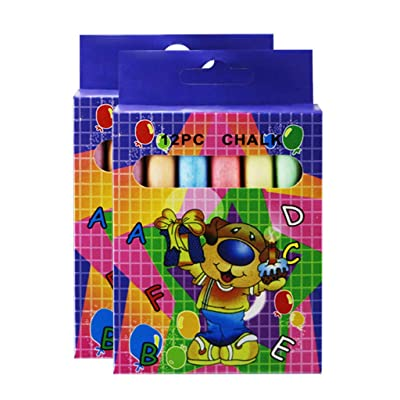 24Pcs Sidewalk Colorful Chalk (6 Colors) - Washable Outdoor Chalk for Decorate Sidewalks, Playgrounds & Driveways - Safe and Non-toxic Kids' Drawing Chalks (Multicolor): Kitchen & Dining