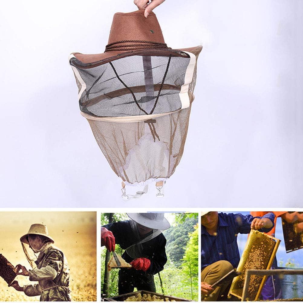 SyeRum Imkerhut Anti Mosquito Bee Insektenschleier Netzhut Vollgesichts-Nackenwickelschutz Verstellbarer Mesh Beekeeping Hat mit Gummiband
