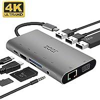 JDDZ 10 in 1 Aluminum Thunderbolt 3 Type USB C Hub Adapter
