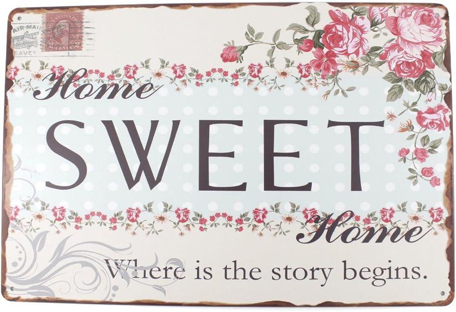 12x8 Inches Pub,bar,Home Wall Decor Souvenir Hanging Metal Tin Sign Plate Plaque (Sweet Home)