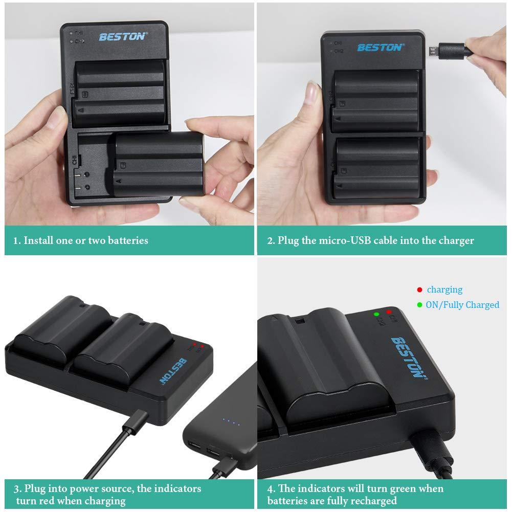 BESTON EN-EL14 EN EL14a EN-EL14a Camera Battery Pack and Dual USB Charger for Nikon D3100 D3200 D3300 D3400 D3500 D5100 D5200 D5300 D5500 D5600 DF Coolpix P7000 P7100 P7700 P7800 Camera Battery 2pcs
