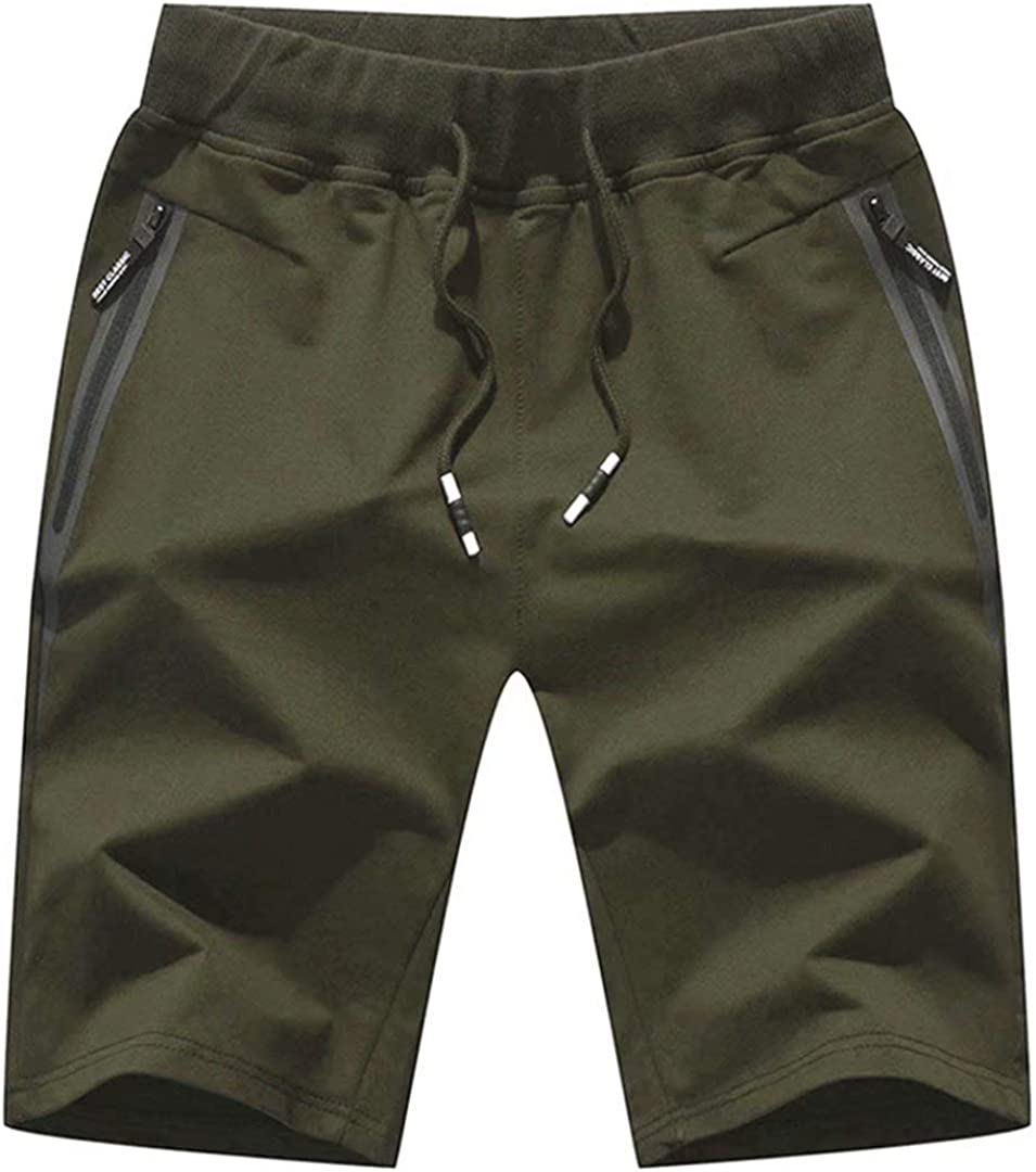 Mens Casual Workout Shorts Cotton Sports Short Pants Elastic Waist with Pockets