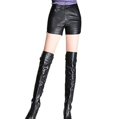 - Des Shorts En Cuir Solide Les Pantalons Taille Extensible Et Élégance