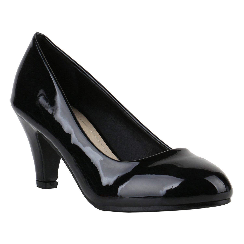 Stiefelparadies Damen Klassische Pumps Flandell Schwarz Lack 2018 Letztes Modell  Mode Schuhe Billig Online-Verkauf