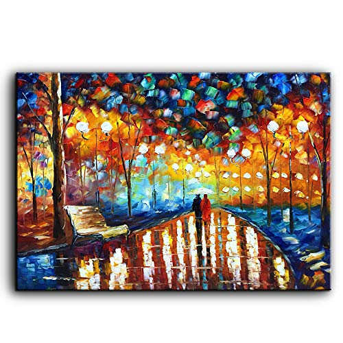 YaSheng Art - Lover Rain Street Tree Lamp Landscape Oil Painting on Canvas Palette knife Abstract Landscape Art Paintings Canvas Wall Art Modern Home living room Office Decor Abstract painting 24x36in
