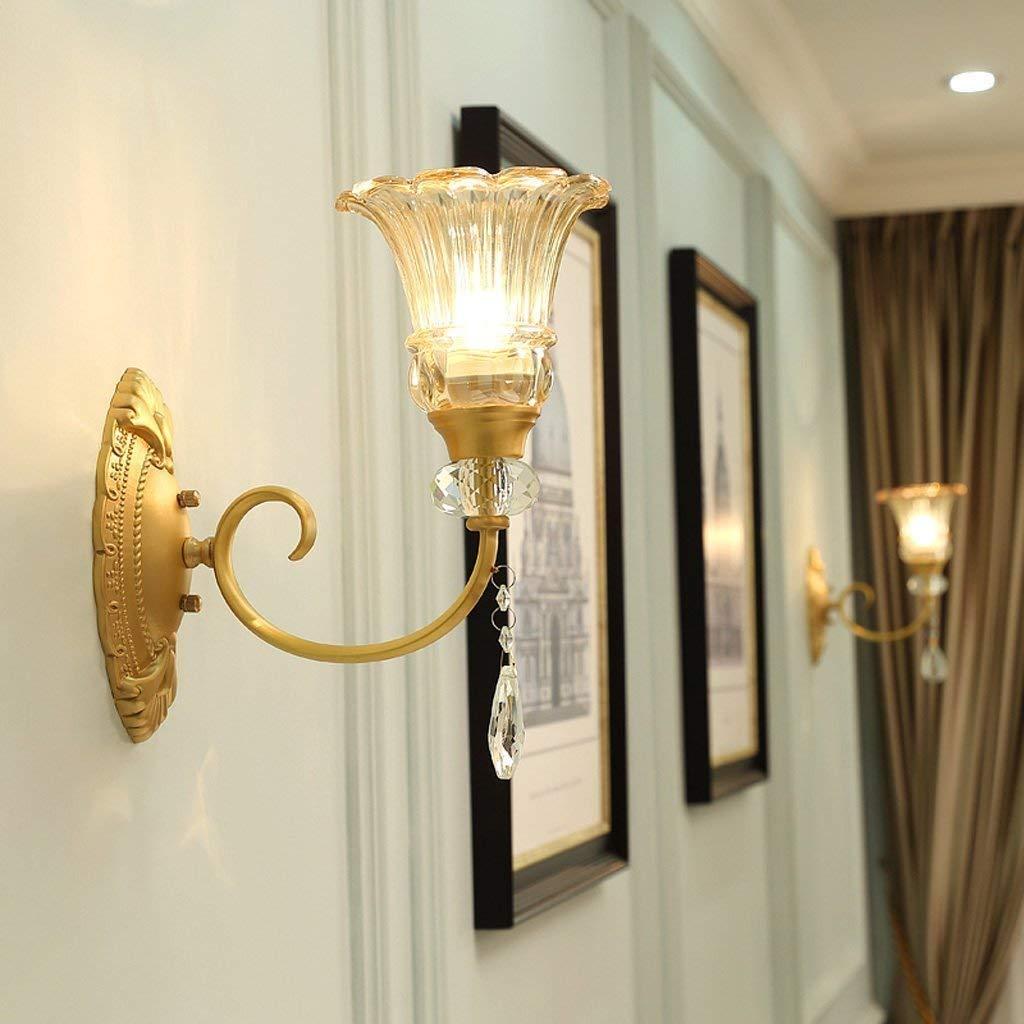FuweiEncore Wandleuchte im amerikanischen Stil Lounge Nachttischlampe Schlafzimmer kreative gemäßnschaften von Kupfer Crystal Wall Lamp (Größe  Single Head) (Farbe   Single Head)