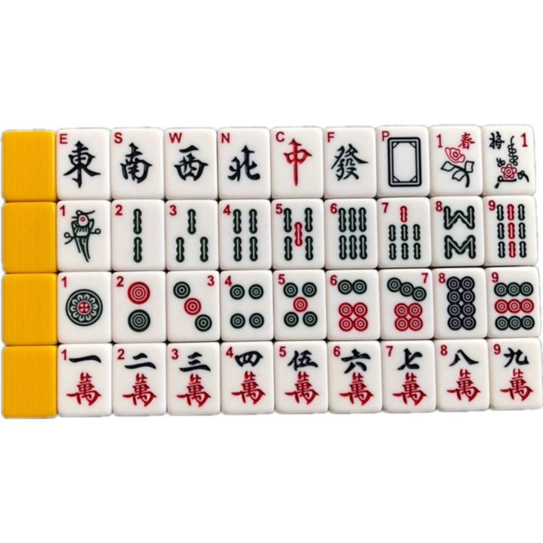 Hexiansheng Mahjong Mind Game Acrylic Material Mind Games Leisure Time Set 30mm ( color   Yellow , Edition   With tile ruler )