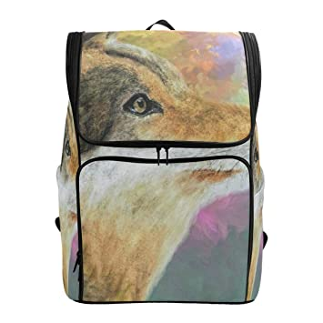 f79e51bde628 Amazon.com | Laptop Backpack Colorful Wolf Gym Backpack for Women ...