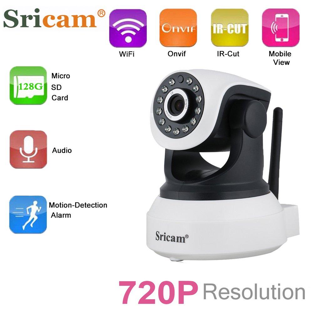 Sricam SP017 - Cámara IP de Vigilancia inalámbrica 720P CCTV ONVIF(Wifi, Vision nocturna, H. 264, Detección de movimiento), Color Negro y Blanco