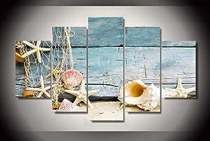 REGF 5 Panel Canvas Print Wall Art 5 Piece Canvas Wall Art Seashells Ocean Driftwood 5 Large Canvas Wall Decoration Painting 5 Piece Set Framed Wall Decor 5 Panels Modern Artwork Home Decor